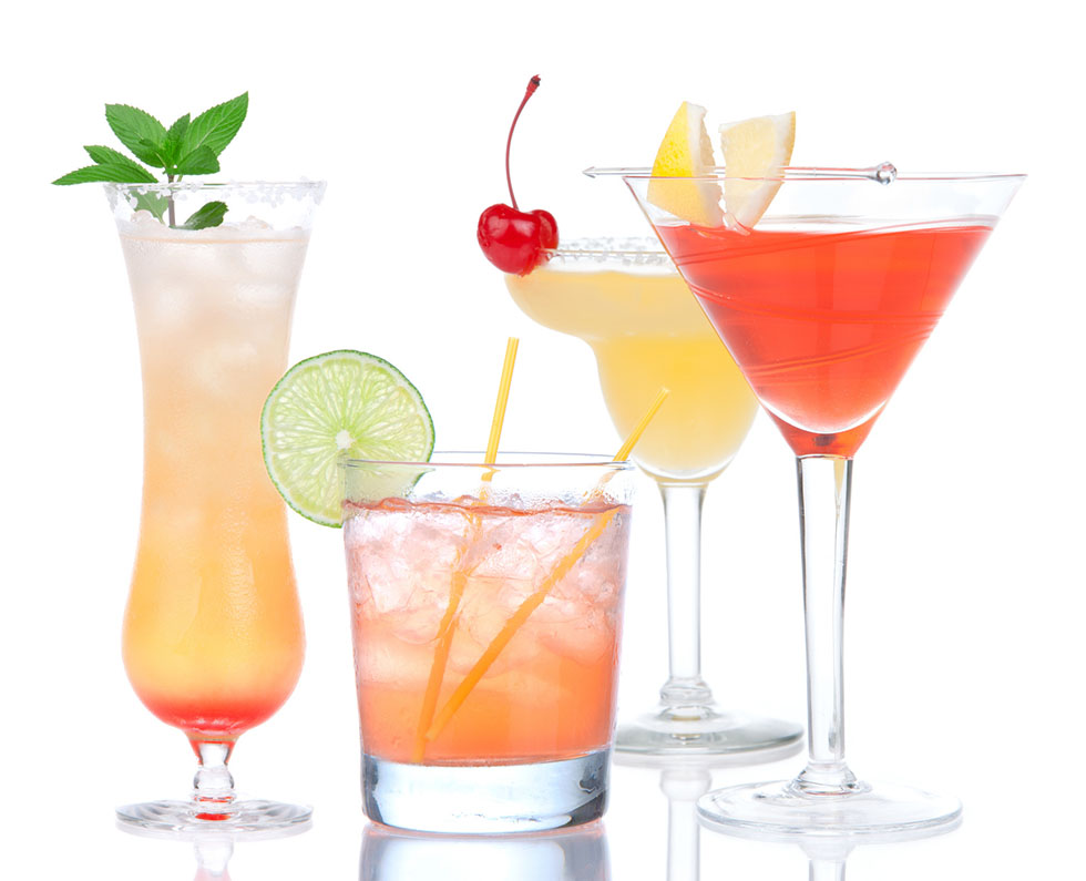 Popular alcoholic cocktails composition. Fourcocktail drinks yellow margarita cherry and tropical Martini on a white background